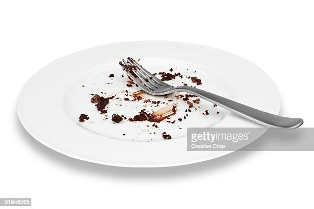 Empty plate of cholcolate cake with fork