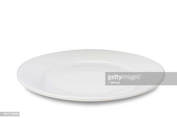 empty plate on white - white stock pictures, royalty-free photos & images