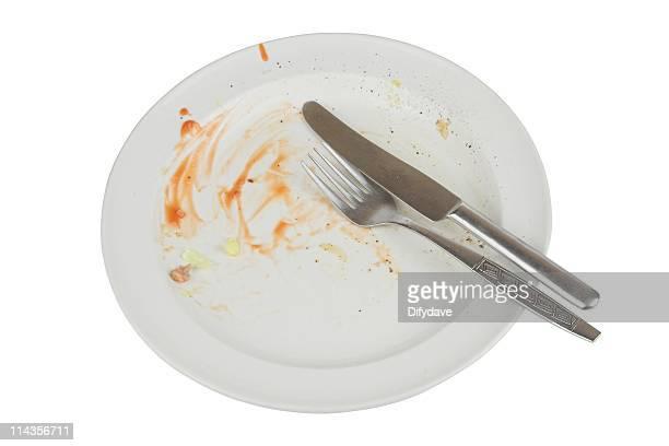 カラの皿の料理は、着色