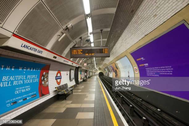 empty platform of london underground train station lancaster gate. - lancaster gate stock pictures, royalty-free photos & images