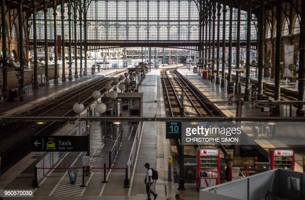 TOPSHOT Empty platforms are pictured at Gare du Nord railway station in Paris on April 24 as French rail workers pursue a second day of strike over...