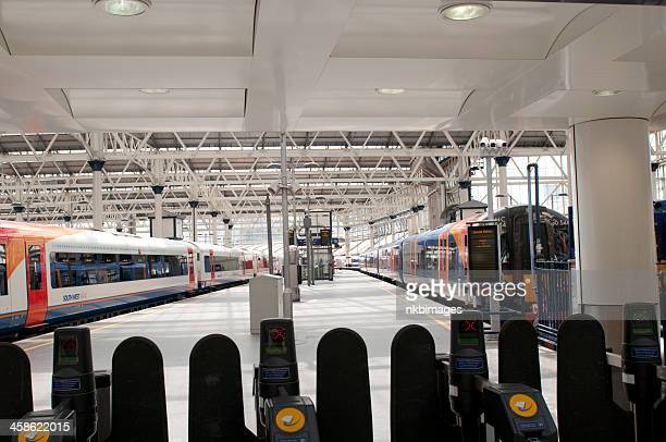 Empty platforms at Waterloo train station in London