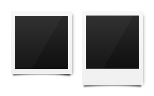 Empty polaroid photo frames mockups template on a pure white background for putting your pictures. Paper sheet for printing images or recording picture of film cameras. ( Clipping path ) 1167725742