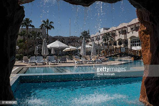 Empty pool chairs are seen at a resort on April 2 2016 in Sharm El Sheikh Egypt Prior to the Arab Spring in 2011 some 15million tourists would visit...