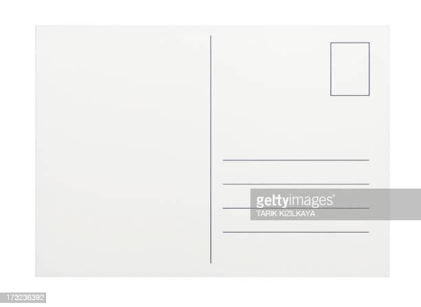 empty postcard on white background - kaart stockfoto's en -beelden