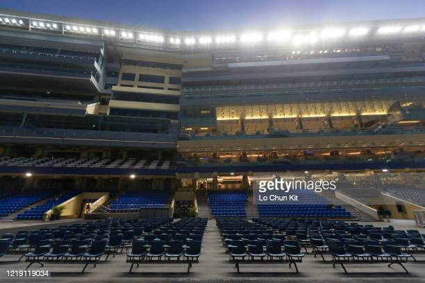 April 15 : Empty public stand at Happy Valley Racecourse on April 15, 2020 in Hong Kong. The public areas at Happy Valley racecourse are shut down...