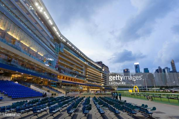 Empty public stand at Happy Valley Racecourse on June 3 2020 in Hong Kong The public areas at Happy Valley racecourse are shut down due to...