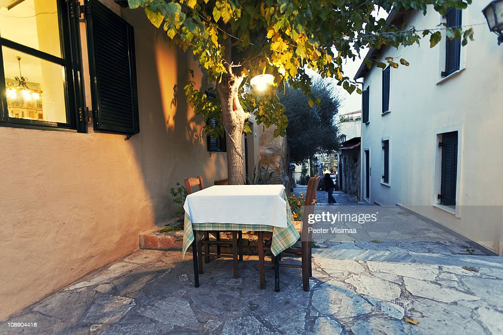 empty reastaurant table in the street. : Stock Photo