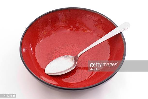 empty red and black serving bowl