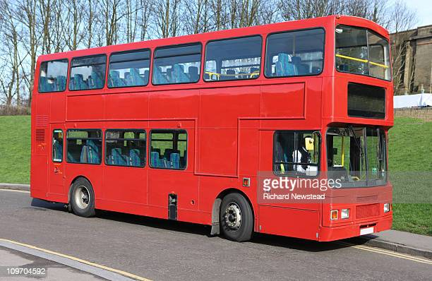 empty red bus - double decker bus stock pictures, royalty-free photos & images