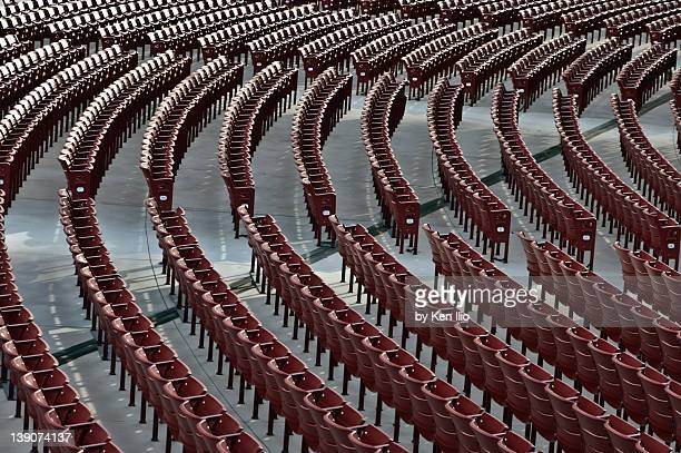 empty red chairs - ken ilio stock photos and pictures