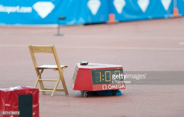 Empty referee's chair in athletics stadium