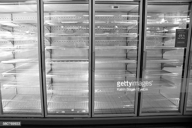 Empty Refrigerator In Supermarket