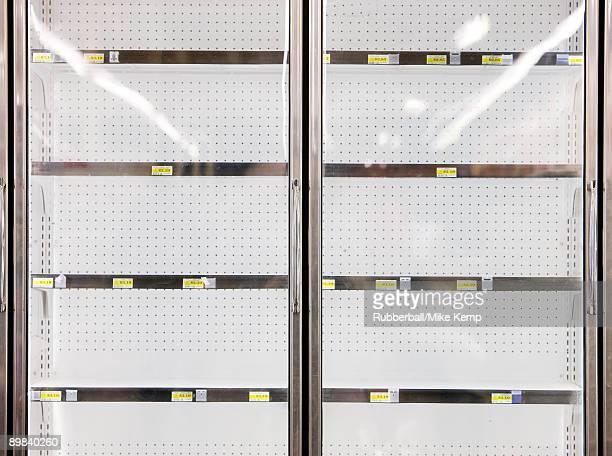 empty refrigerators at market