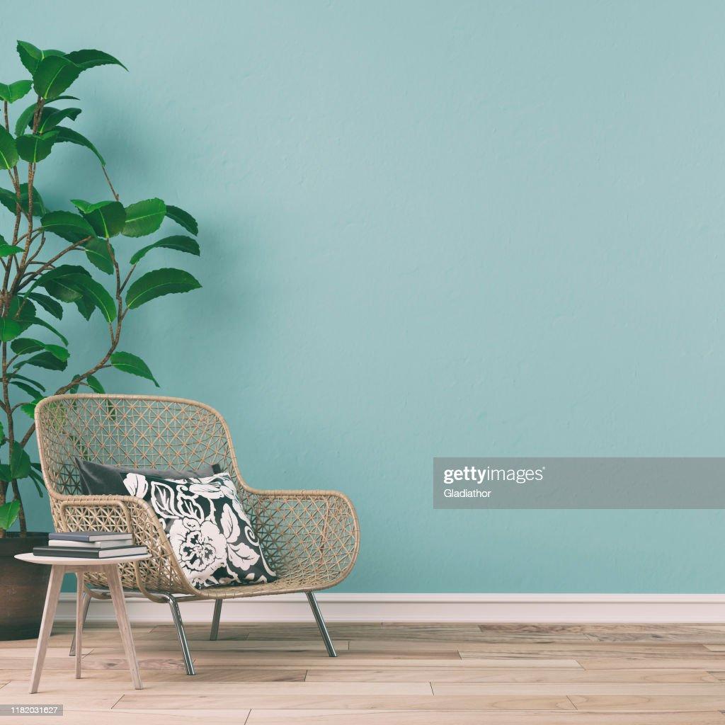 Interior retro vacío con decoración de los años 70 : Foto de stock