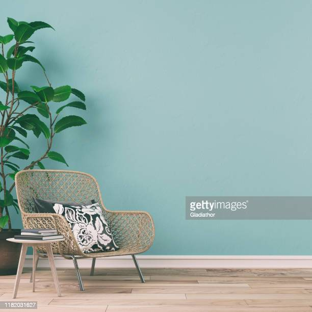 empty retro interior with 70s decoration - chair stock pictures, royalty-free photos & images