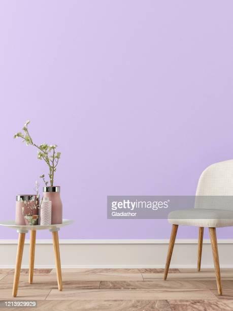 interior retrô vazio com decoração - roxo - fotografias e filmes do acervo
