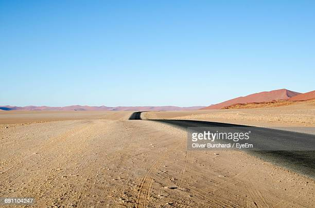 Empty Road Against Clear Sky At Namib Desert