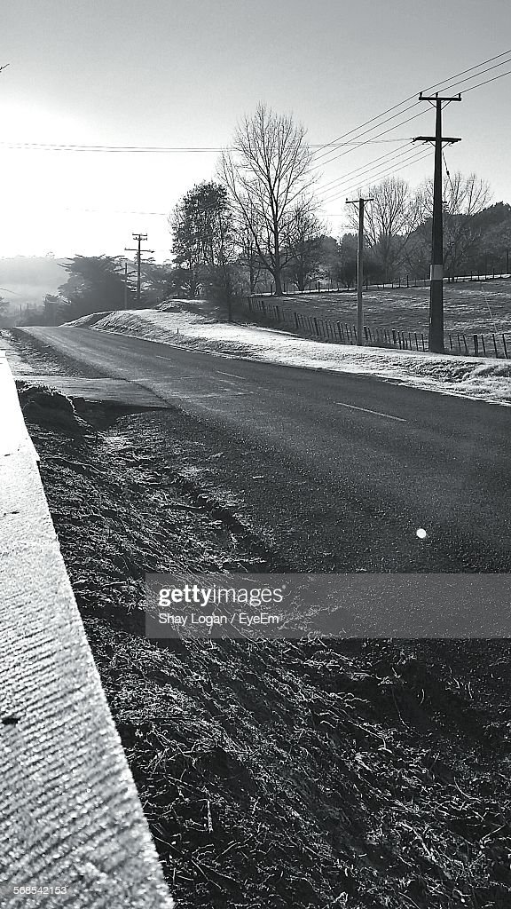 Empty Road Against Clear Sky : Stock Photo