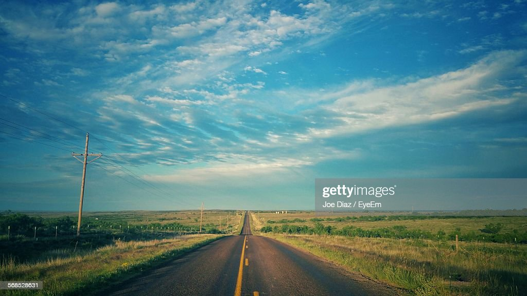 Empty Road Against Cloudy Sky : Stock Photo