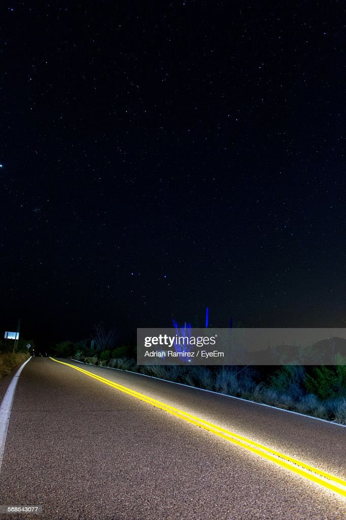 Empty Road Against Sky At Night : Stock Photo