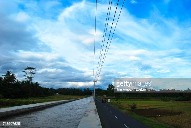 Empty Road Along Countryside Landscape