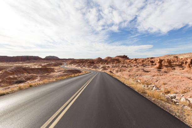 Empty road along landscape against sky,Utah,United States,USA
