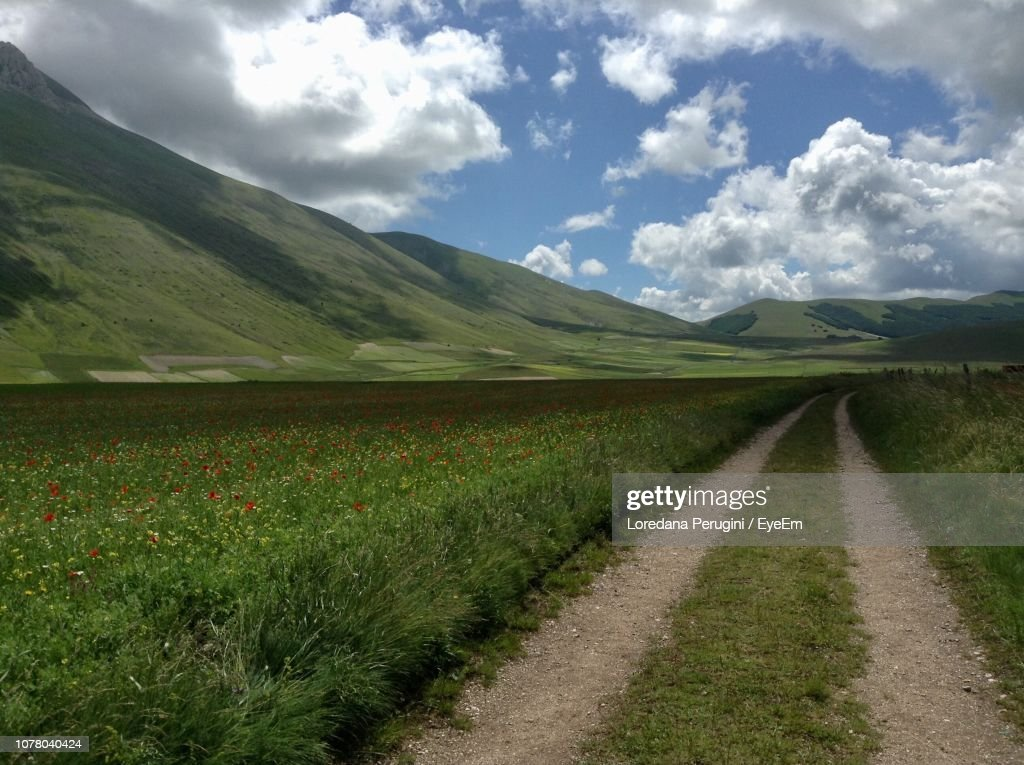 Empty Road Amidst Field Against Sky : Foto stock