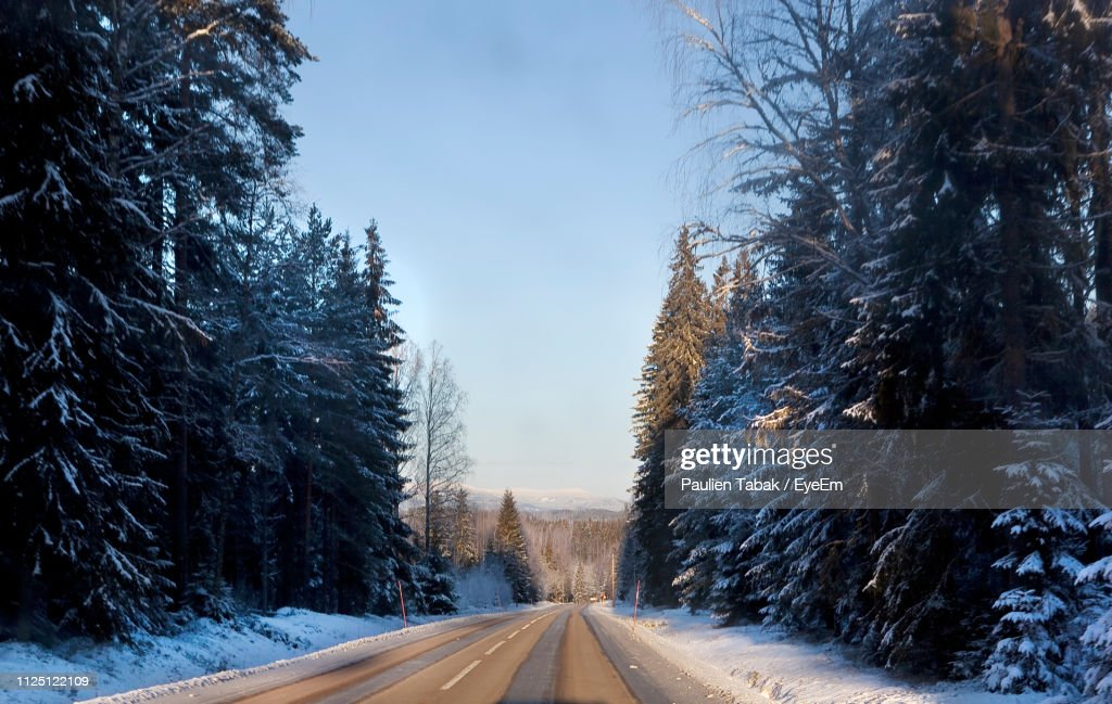 Empty Road Amidst Snow Covered Trees Against Sky : Stockfoto
