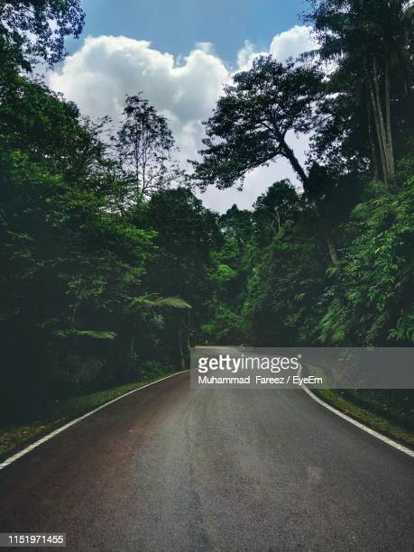 empty road amidst trees against sky - shah alam stock photos and pictures