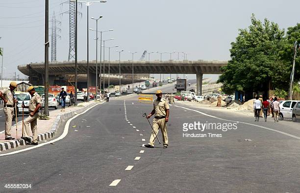 Empty road as police has put blockade to prevent any protest by exiled Tibetan activists against the Chinese President at Majnu Ka Tilla road on...