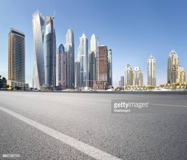 Empty road at Dubai marina