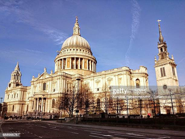 Empty Road By St Paul Cathedral Against Blue Sky
