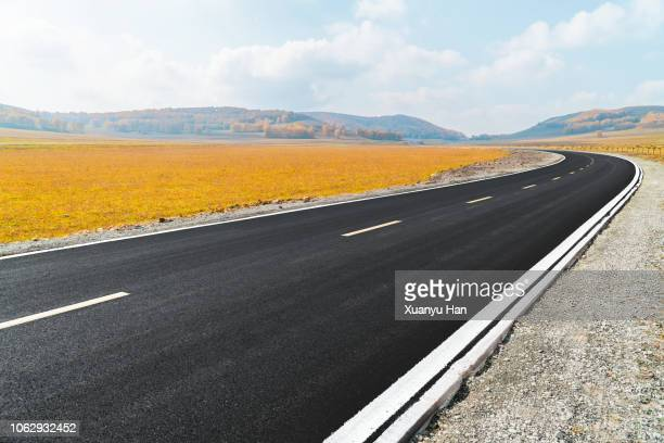 empty road in autumn - lungo foto e immagini stock