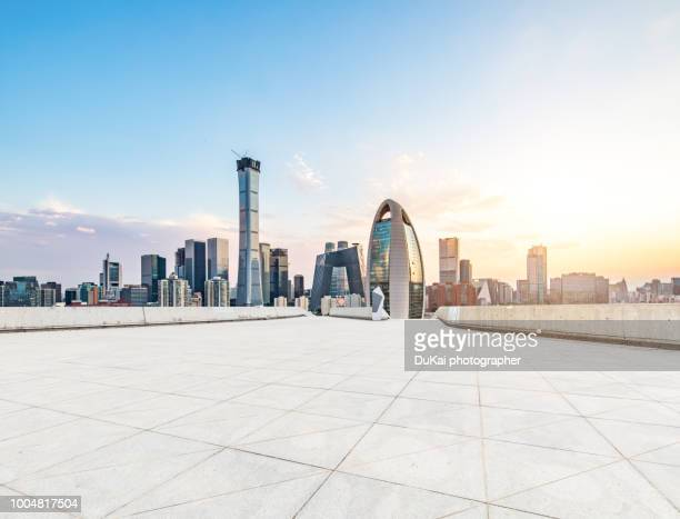 empty road in beijing cbd - beijing province stock photos and pictures