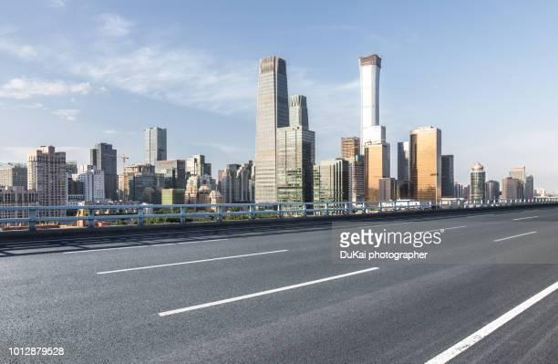 Empty Road in beijing cbd