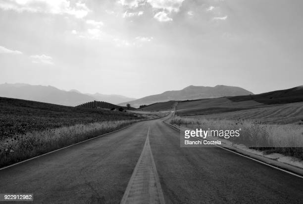 Empty road in black and white
