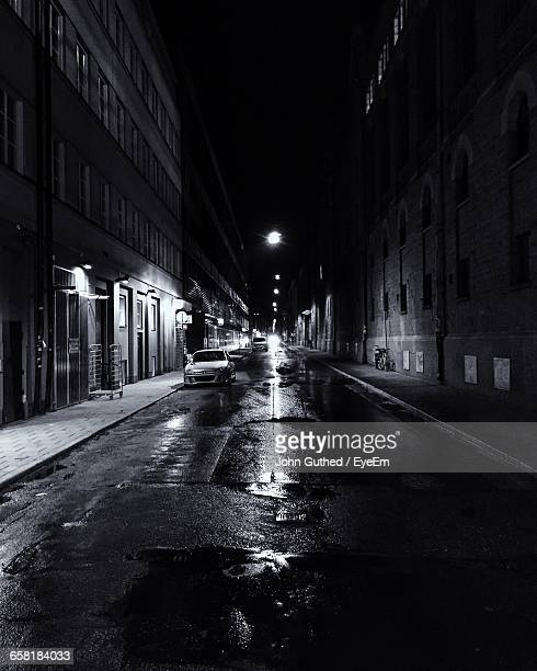 Empty Road In City At Night