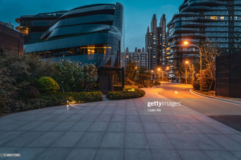 Empty road in residential district : Stock Photo