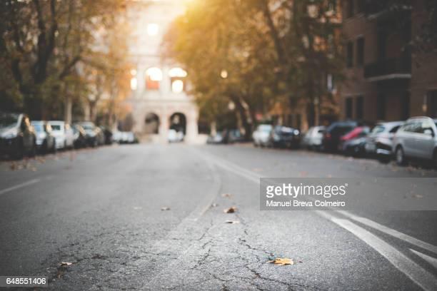 Empty road in Rome, Italy