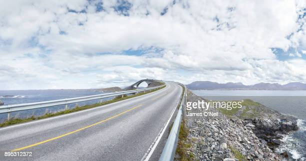 Empty road next to ocean, Atlantic road, Norway