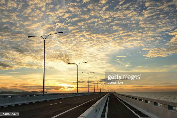 Empty road on a Bridge