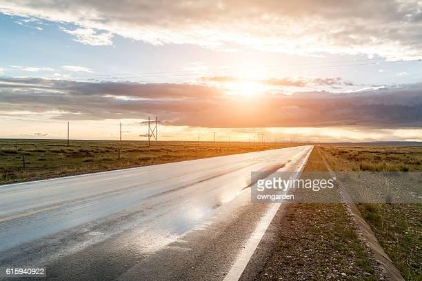 Empty road through mountains