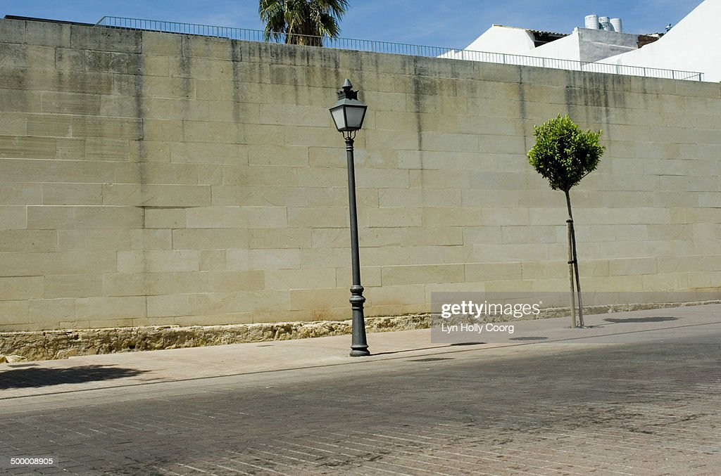 Empty road with lamppost, tree and stone wall : Stock Photo