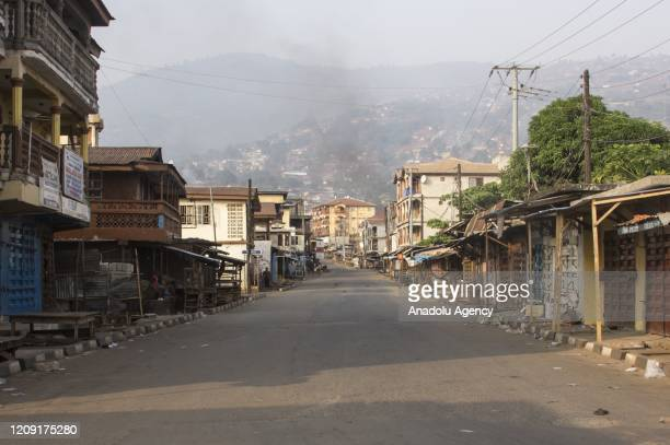 Empty roads and streets are seen after 3day curfew declaration due to coronavirus pandemic in Freetown Sierra Leone on April 5 2020