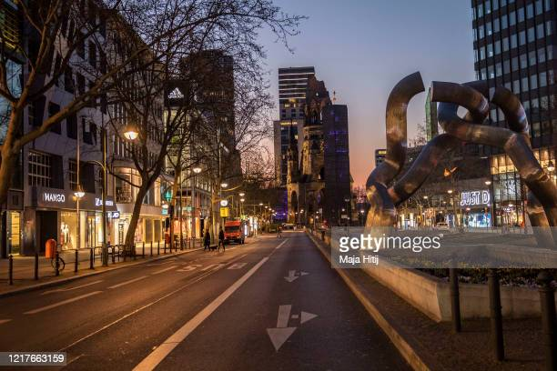 Empty roads at Kurfürstendamm, shopping boulevard pictured on April 08, 2020 in Berlin, Germany. The number of confirmed coronavirus cases in Germany...