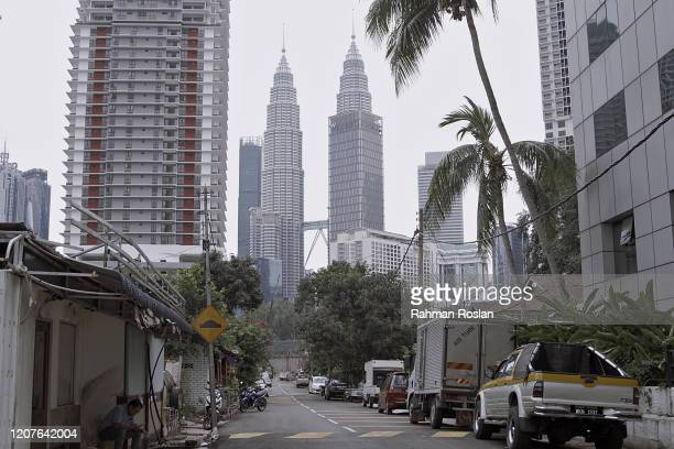 Empty roads in downtown Kuala Lumpur are seen, on March 19, 2020 in Kuala Lumpur, Malaysia. As the Government imposed a Movement Control Order...