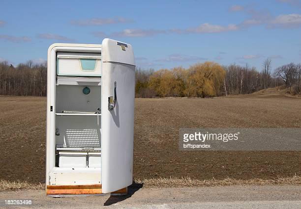 Empty Roadside Refrigerator