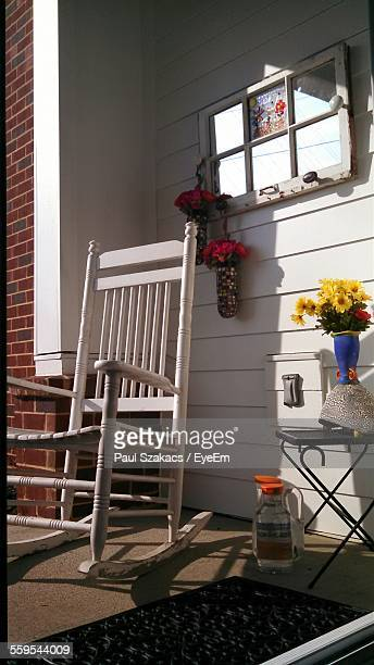 Empty Rocking Chair Outside House