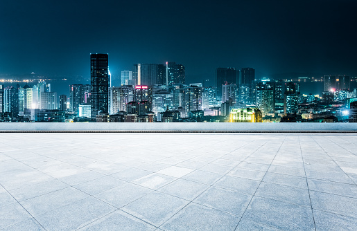empty rooftop platform front of Qingdao cityscape - gettyimageskorea